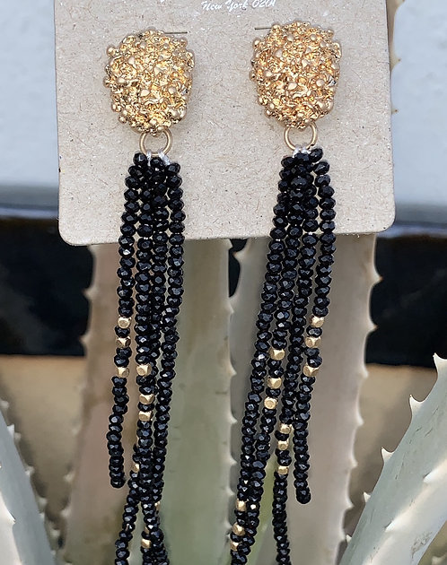 Symphony - Black beaded hanging earrings