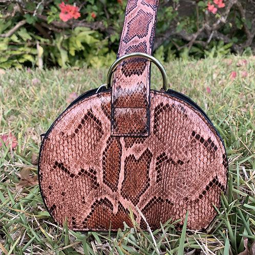 Bianca - Pink snake skin wristlet handbag