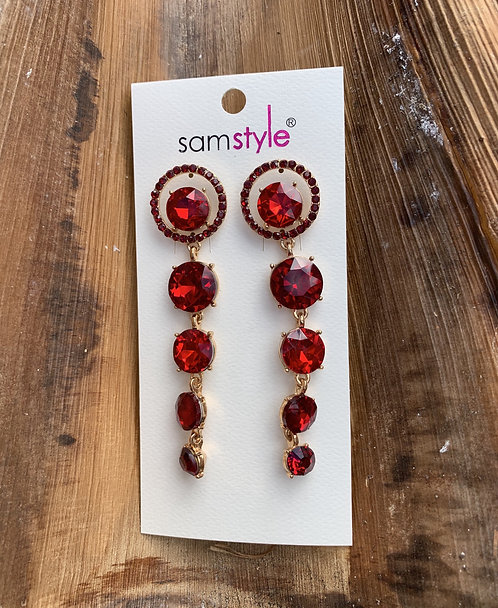 Rojo - Red large crystals earrings