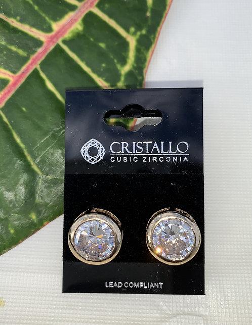 Cristallio - Large cubic zirconia gold earrings