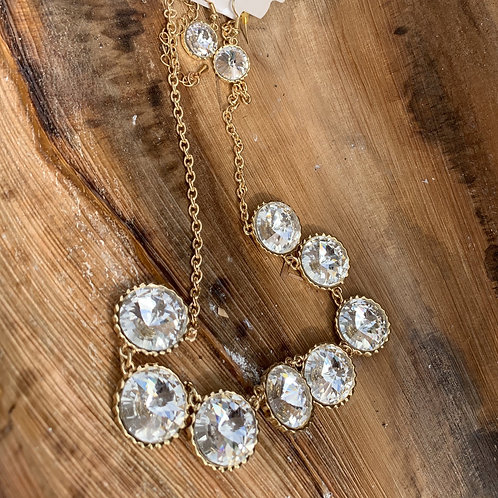 Hannah - Gold necklace set with large clear stones