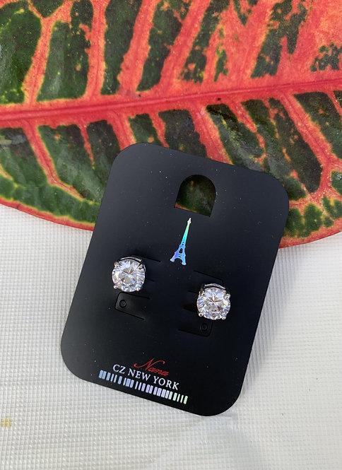 CZ - Medium cubic zirconia silver earrings
