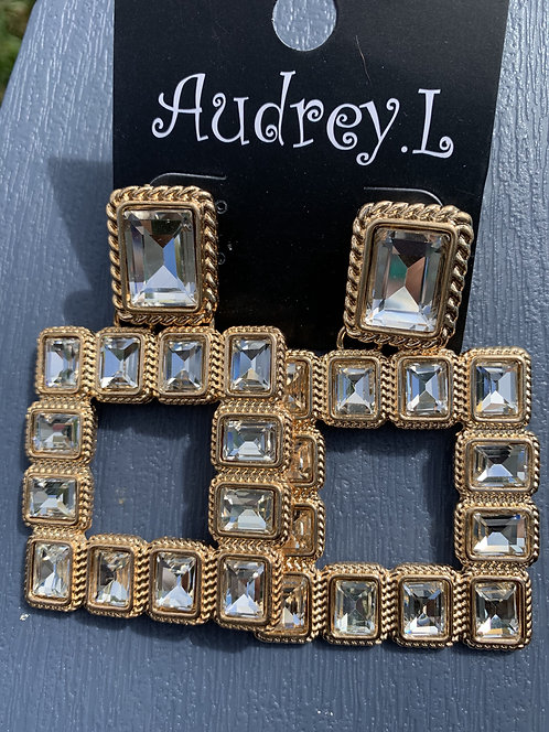 Audrey - Large clear crystals gold earrings