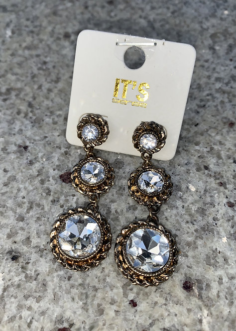 Tori - Large clear crystals drop gold earrings