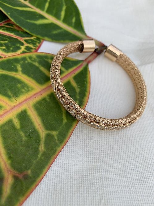 Slane - Gold netting rhinestone bracelet
