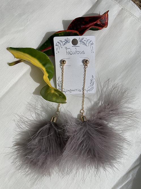 Dainty - Slate feather duster earrings