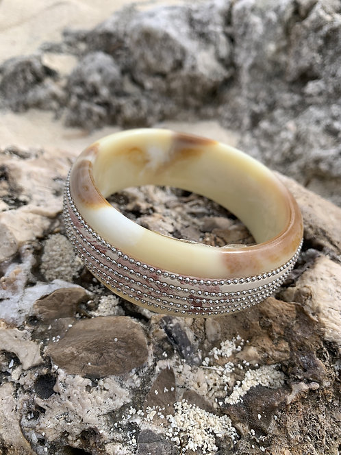 Cam - Cream and brown animal print bangle