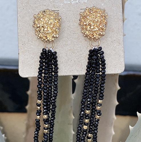 Symphony - Black beaded hanging earrings