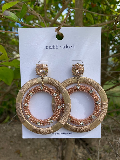 Selena - Light gold round earrings with beads