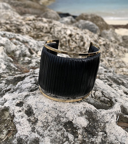 Savvy -Black leatherette wrapped gold cuff bracelet