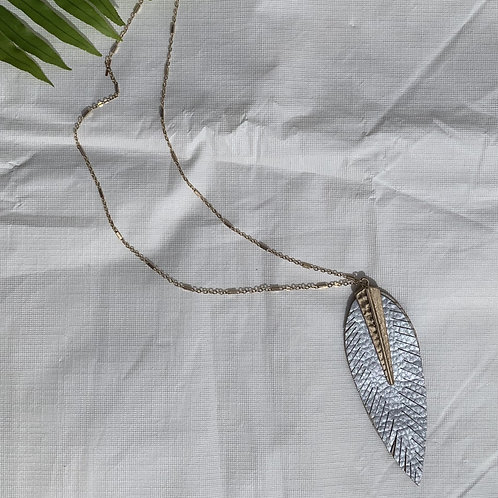 Icon - Large gray leaf feather necklace