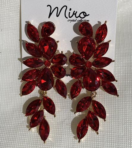 Myra - Red flower crystals earrings