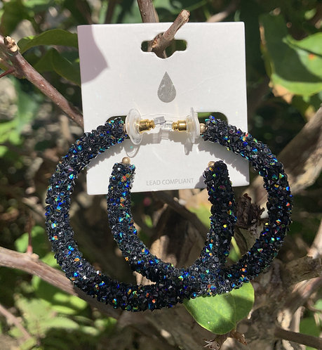 Jazz - Black crystal iridescent hoops