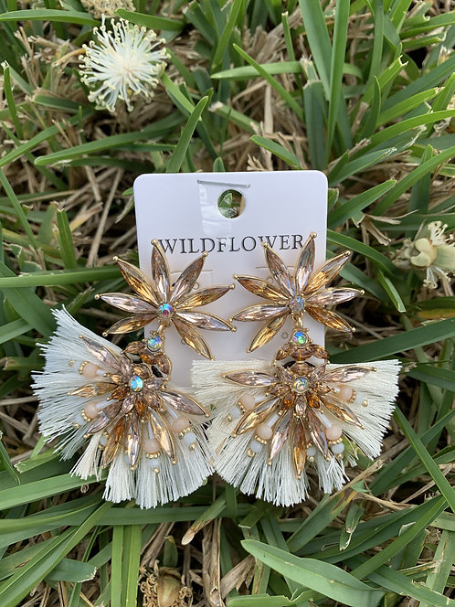 Widflower - White and brown crystal earrings
