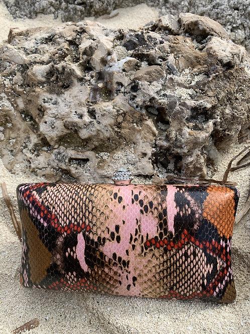 Sly - Pink snake skin wristlet handbag