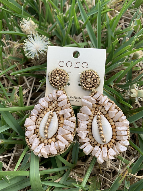 Carrie - Natural cowrie shell teardrop earrings
