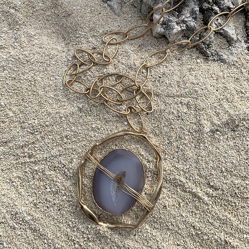 Sacha - Gray agate gold chain necklace