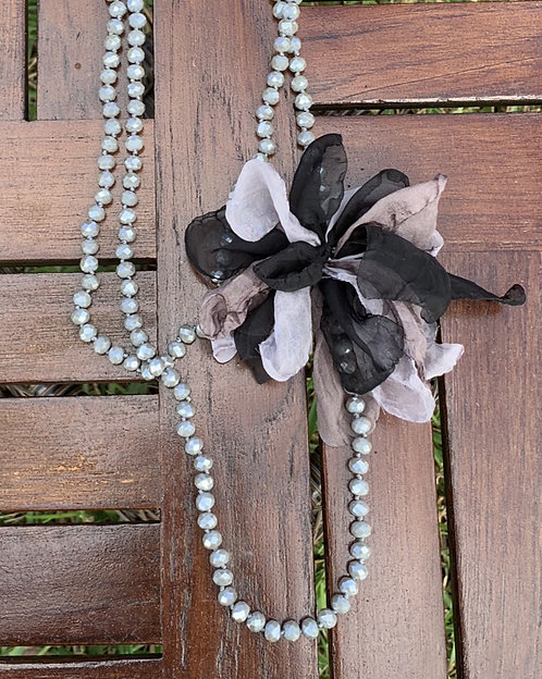 Faith - Gray beads with fabric flower necklace