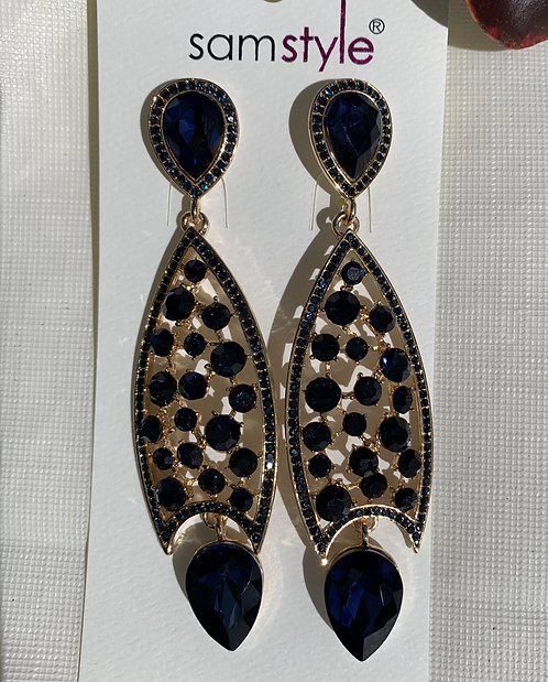 Azucar - Midnight blue large crystals earrings