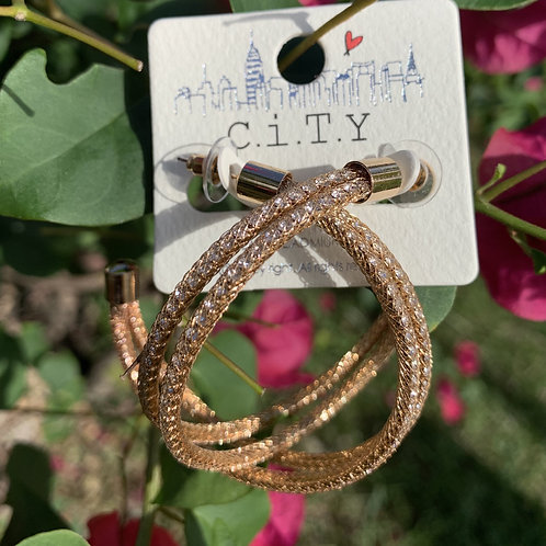 Cela - Gold rhinestone hoops