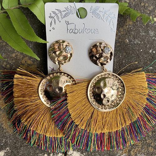 Miss Thang - Multi-colored fan gold earrings
