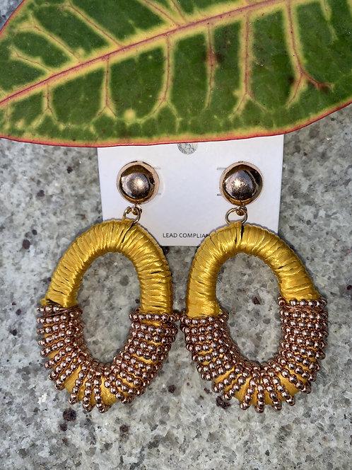 Taz - Yellow wrapped oval earrings