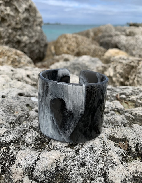Hidden Heart - Black and white cuff bracelet