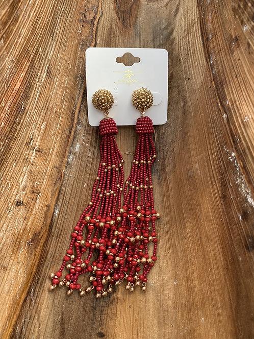 Dancer - Red hanging beads earrings