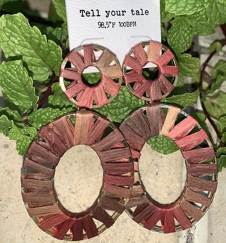 Jasmine - Red raffia wrapped oval earrings