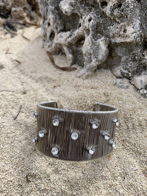 Lumen - Silver cuff bracelet with large clear stones