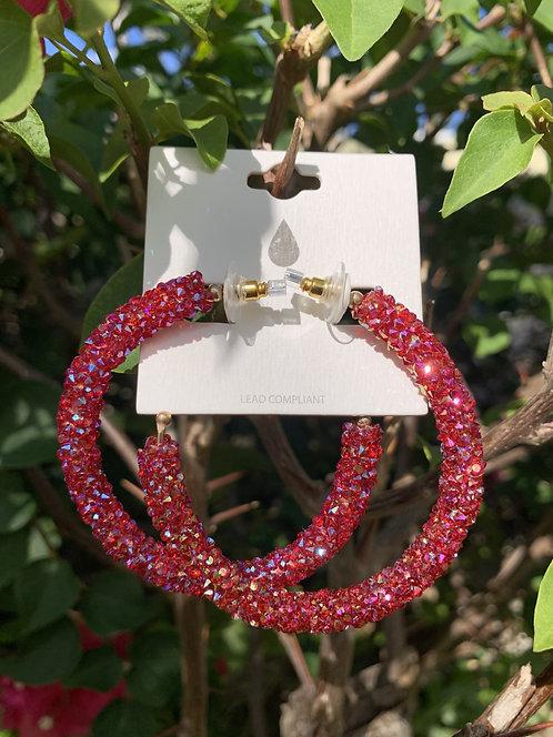Jazz - Burgundy crystal iridescent hoops