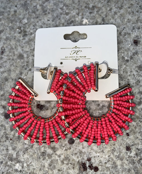 Sloane - Fuschia beads wrapped gold hoops