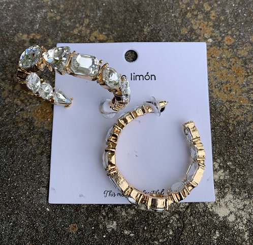 Limon - Large clear crystals gold hoops