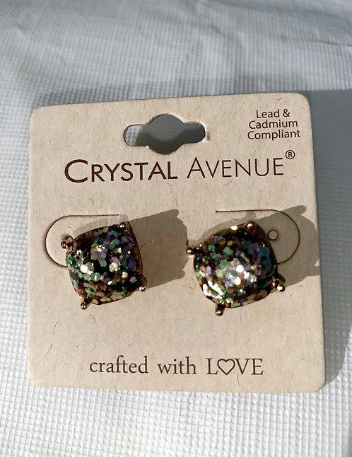 Crystal - Iridescent gray rectangular earrings