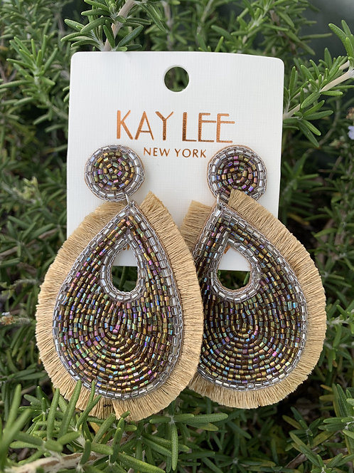 Fringe - Light gold with multi-colored iridescent beads earrings