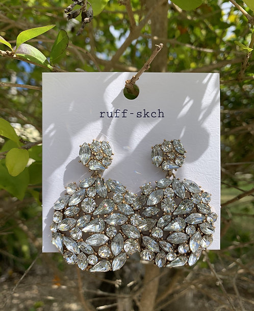 Elle - Large clear crystals cluster gold earrings