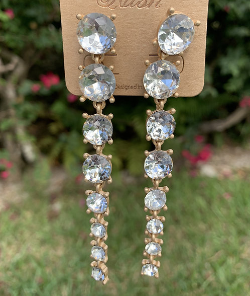 Hush - Gold with large clear crystal drop earrings