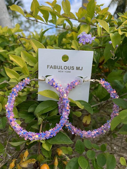 Shimmer - Purple glitter hoops