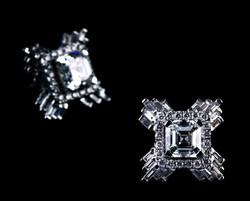 Square emerald cut diamonds Earring