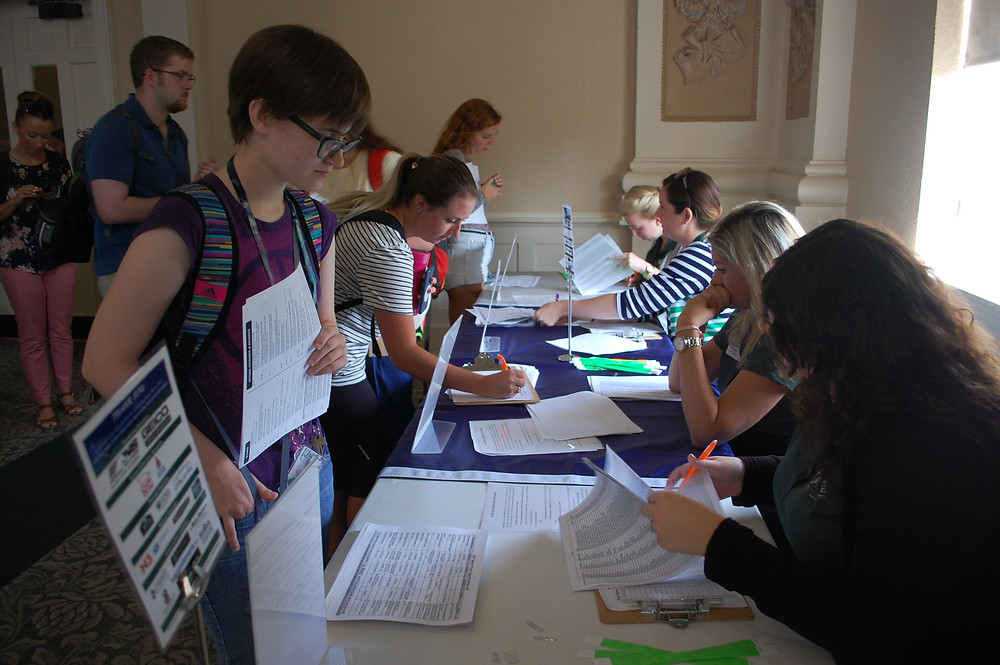 Seniors registered for their senior check-in appointments with the Career Center.