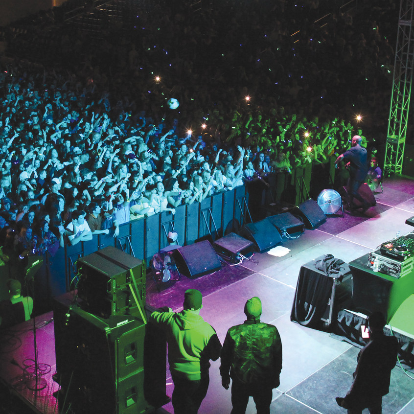 A large crowd filled Centennial Center for the concert Friday night.