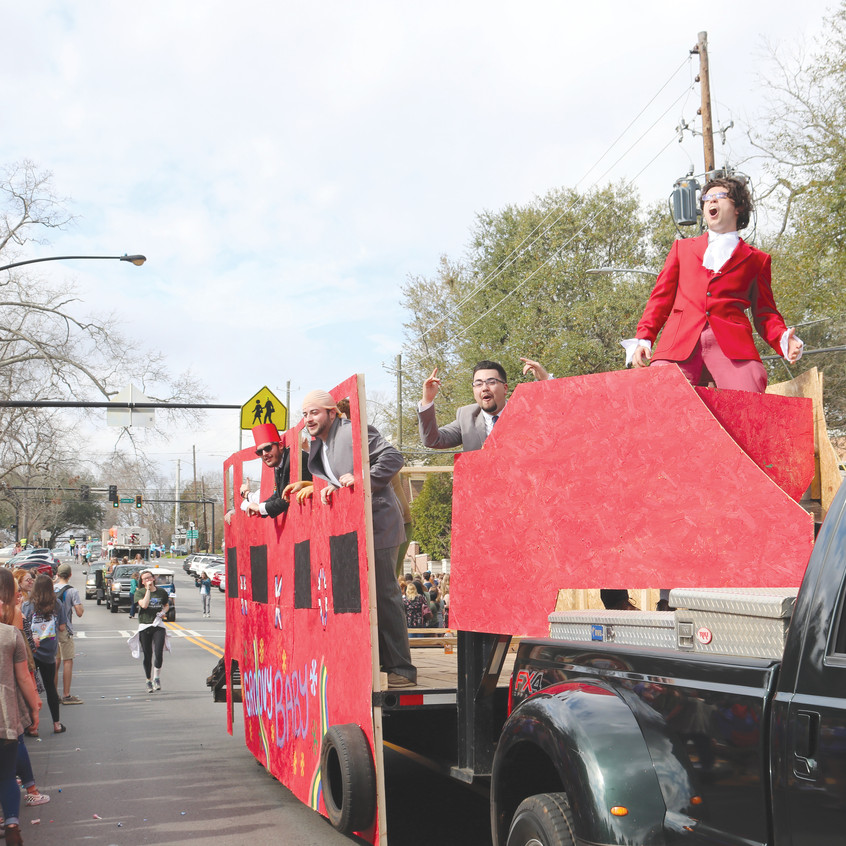 Fraternities and other organizations create their own floats for the parade.