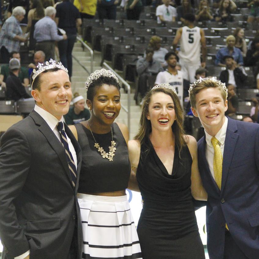 From left to right: Homecoming King, Luke King; Homecoming Queen Kemi Adaleke; newly elected SGA president Amanda Lord; newly elected SGA Vice President Matt Krack.