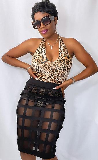 Leopard Body Suit & Skirt