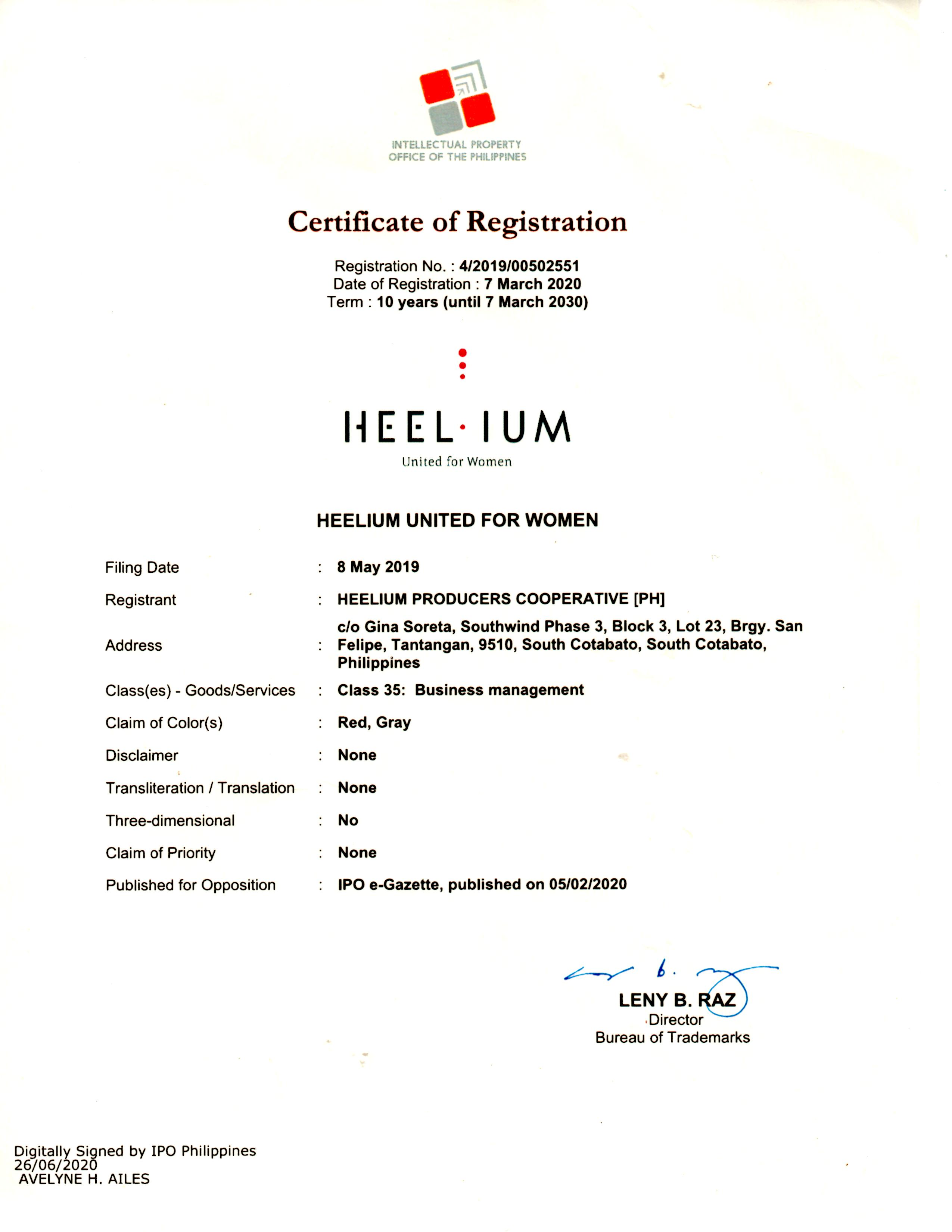 #3- Heelium Brand registration