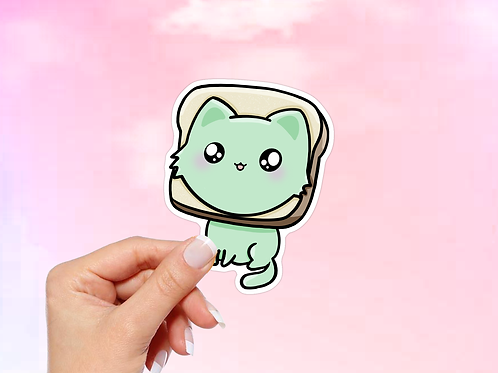 Bread Cat Vinyl Sticker, Bread Meme sticker