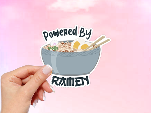 Ramen Noodle Vinyl Sticker, Powered by Ramen Sticker, Anime sticker