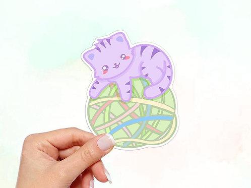 Cat on Yarn Ball Vinyl Sticker