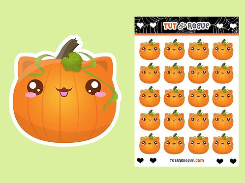 Cat Pumpkin Stickers Sheet