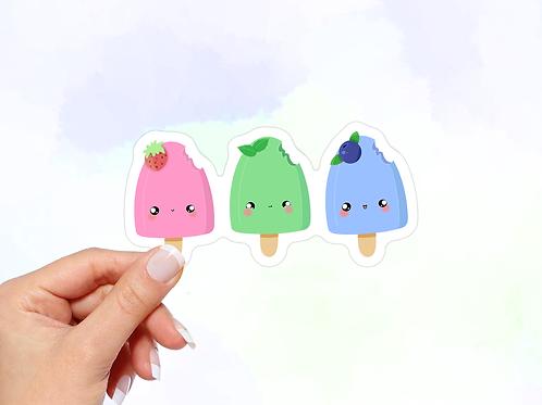 Ice Cream Pops Vinyl Sticker, Kawaii Sticker, Strawberry, Mint, Blueberry